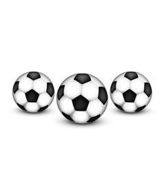 Three soccer ball on a white background vector