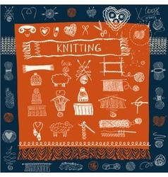 Set of knitting hats and snood scarf and mittens vector image