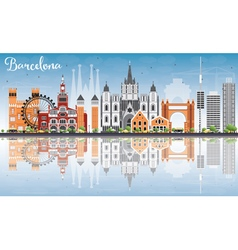 Barcelona skyline with color buildings vector