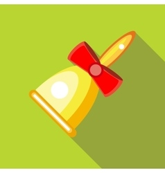 Gold bell with red bow icon flat style vector