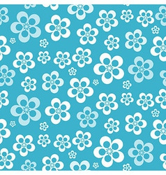 Abstract Retro Seamless Blue Flower Pattern - vector image vector image