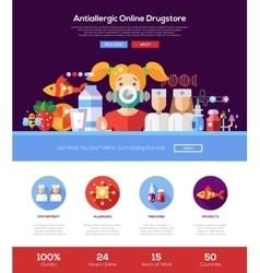 Allergy drugstore website header banner with vector