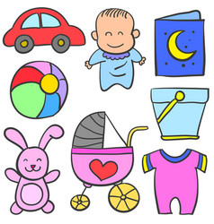 Baby element set of doodle collection vector