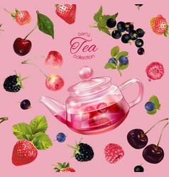 Berry tea pattern vector