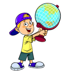 Boy with an earth globe vector