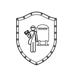 Contour shield of postman with mailbox vector