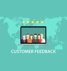 Customer feedback concept with star rating and vector