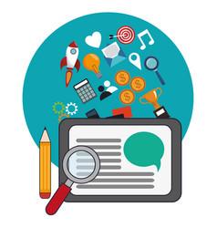 Digital marketing social network design vector