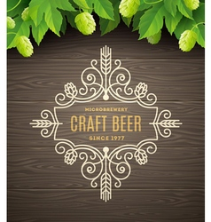 Flourishes beer emblem vector image