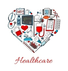 Healthcare icons in shape of heart vector