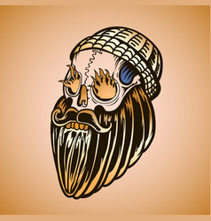 Hipster skull with beard and burning eyes vector