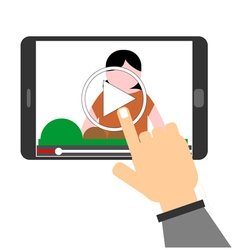Human hand pointing to play button on a tablet com vector