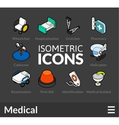Isometric outline icons set 20 vector image