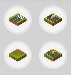 Isometric way set of footer navigation turn and vector