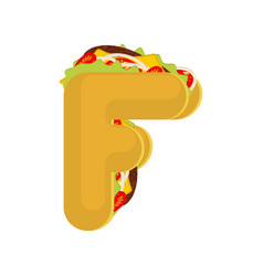 Letter f tacos mexican fast food font taco vector