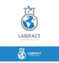 logo combination of a earth and lab vector image