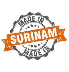 Made in surinam round seal vector