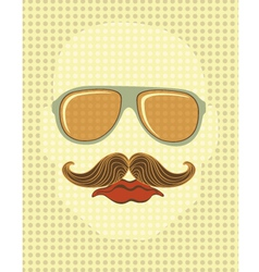 Male face with mustache and glasses vector image vector image