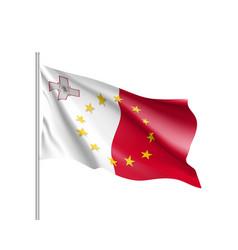 Malta national flag with a star circle of eu vector