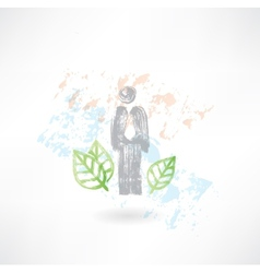 Man and leafs grunge icon vector