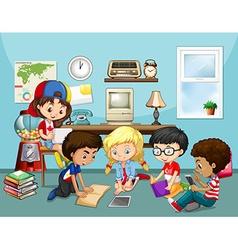 Many children working in classroom vector