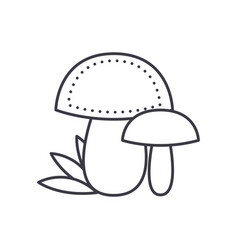 mushroom line icon sign on vector image