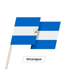 Nicaragua ribbon waving flag isolated on white vector