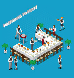 Preparing to feast isometric composition vector