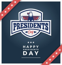 Presidents day sign on a dark blue background vector image