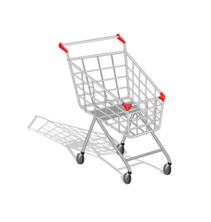 Realistic empty shopping cart with shadow on white vector