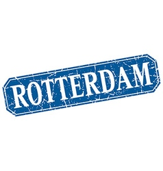 Rotterdam blue square grunge retro style sign vector