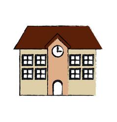 School building facade exterior clock vector