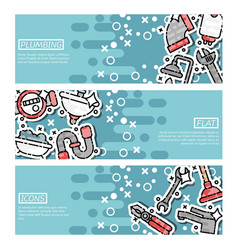 set of horizontal banners about plumbing vector image