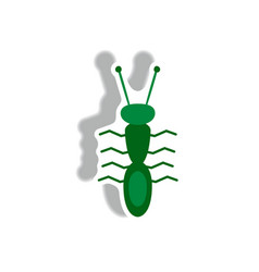 Stylish icon in paper sticker style ant insect vector