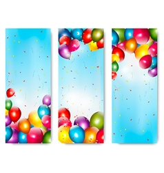Three holiday banners with colorful balloons vector