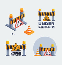 under construction logos set badges vector image