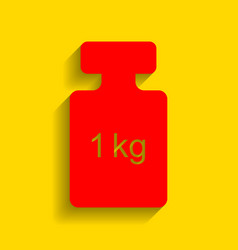Weight simple sign red icon with soft vector