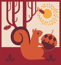 Wood autumn squirrel with an acorn vector