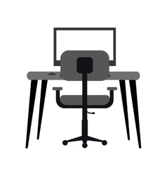 Workplace modern pc armchair desk monochromatic vector