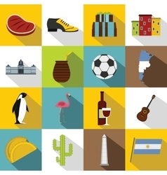 Argentina travel items icons set flat style vector image
