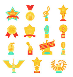 Trophy awards icons set flat vector