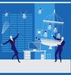 businessmen catching idea bulbs vector image