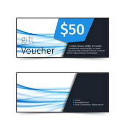 Blue wave pattern discount gift voucher vector
