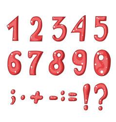 cute cartoon red numbers vector image