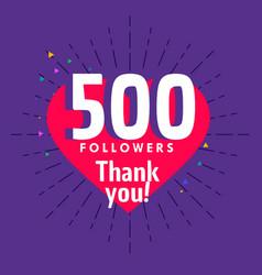 500 followers greeting for social media network vector