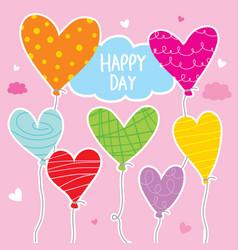 Balloon heart colorful cartoon character de vector