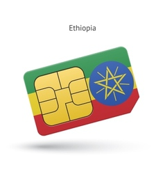 Ethiopia mobile phone sim card with flag vector