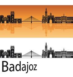 Badajoz skyline in orange background vector image