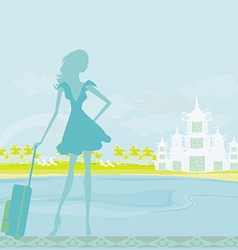 Beauty travel girl silhouette with baggage on vector