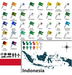 Indonesia map with flags vector